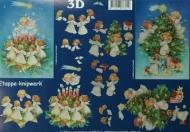 Papíry na decoupage 3D - andílci u stromku