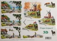 Papíry na decoupage 3D - farma