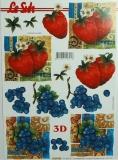 Papíry na decoupage 3D - jahody, hrozno