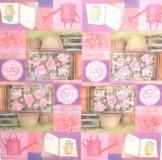 Ubrousek květiny - růže, konvičky na růžovém
