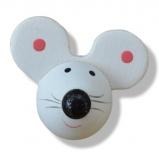 Nalepovací dřevěné myšky bílé - 6ks