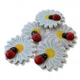 Nalepovací dřevěné kytičky s beruškou bílé - 6ks