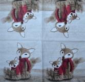 Ubrousek zvířata - plyšové lišky se šálou
