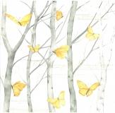 Papír na scrapbooking - motýli v březovém lese