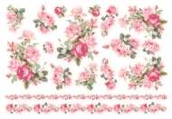Rýžový papír na decoupage - růžové růže