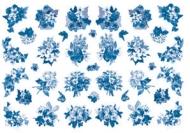 Rýžový papír na decoupage - modré kytičky