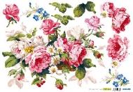Rýžový papír na decoupage - kytice růží