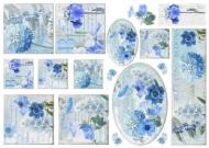 Rýžový papír na decoupage - modré květy