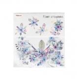 Papírové samolepky modré květiny - 40 ks
