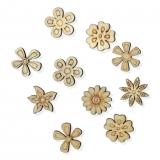 Dřevěná dekorace květinky - mix 01