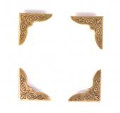 Kovové rožky na scrapbooking - bronzové 4 ks
