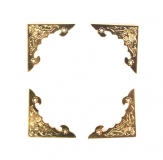 Kovové rožky na scrapbooking - velké, zlaté 4 ks