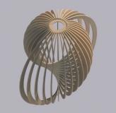 Dřevěný lamelový lustr - koule