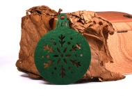 Vánoční ozdoba plsť zelená - Baňka 03