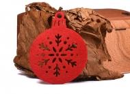 Vánoční ozdoba plsť červená - Baňka 03