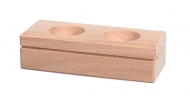 Dřevěný svícen na 2 čajové svíčky obdélník 4 cm