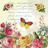 Ubrousek 33x33 - Dopis s motýlem a růžemi