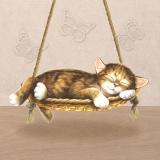 Ubrousek 33x33 - Kočka na houpačce