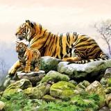 Ubrousek 33x33 - Tygr s mládětem