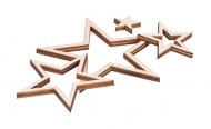 Dřevěná dekorace pěticípá hvězda mix