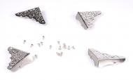 Kovové rožky na krabičky - stříbrné 4ks