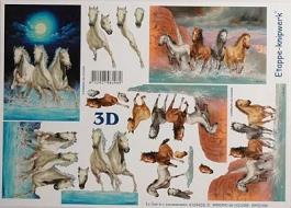 Papíry na decoupage 3D - koně 3
