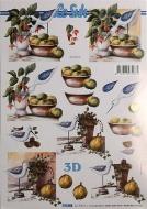 Papíry na decoupage 3D - mísa s ovocem, pták