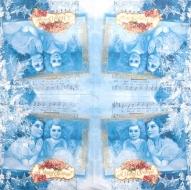 Ubrousky andělské - andělé, noty na modrém