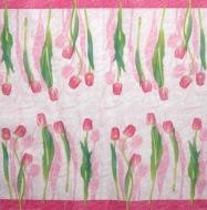 Ubrousek květiny - růžové tulipány