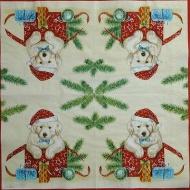 Ubrousek vánoční - pejsek v tašce