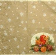 Ubrousek vánoční - svícen na zlatém