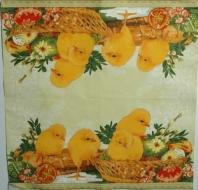 Ubrousek velikonoční - kuřátka v ošatce