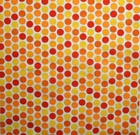 Ubrousek vzorovaný - červená a žlutá kolečka