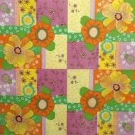 Ubrousek vzorovaný - květinový, žlutooranžový