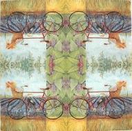 Ubrousek zátiší - kolo v levanduli