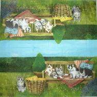 Ubrousek zvířata - koťata na lavičce