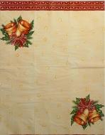Ubrousek vánoční - zvonky, červený lem