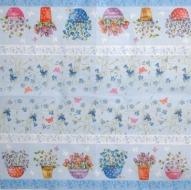 Ubrousek květiny - květinky v květináči na modrém