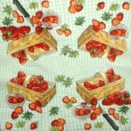 Ubrousek ovoce - jahody v košíku