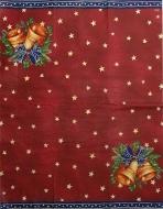 Ubrousek vánoční - zvonky, modrý lem