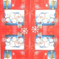Ubrousek vánoční - sněhuláci v červeném rámečku