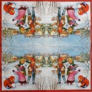 Ubrousek vánoční - děti na sněhu