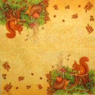 Ubrousek zvířata - veverka na pařezu