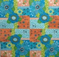 Ubrousek vzorovaný - květinový vzor modrooranžový