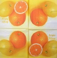 Ubrousek ovoce - pomeranče na žlutém