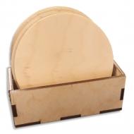Dřevěné tácky kruhové - sada 6 ks