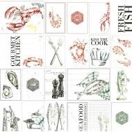 Papír na scrapbooking - kartičky plody moře